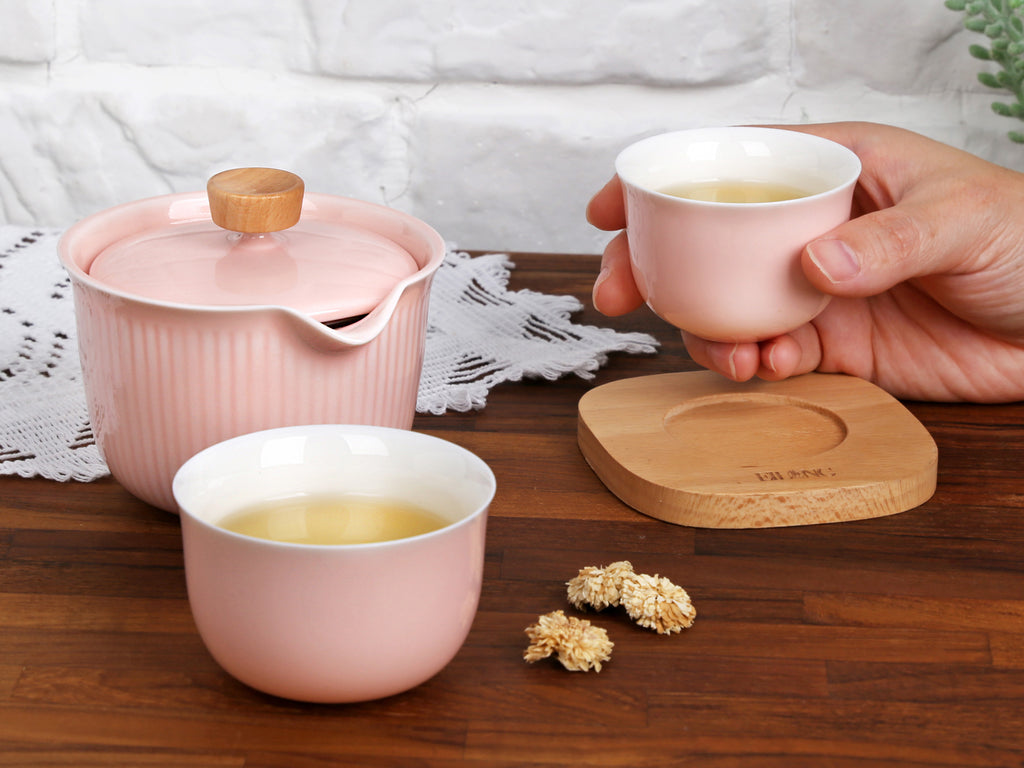ceramic portable tea set-burnt cream sharing set 07