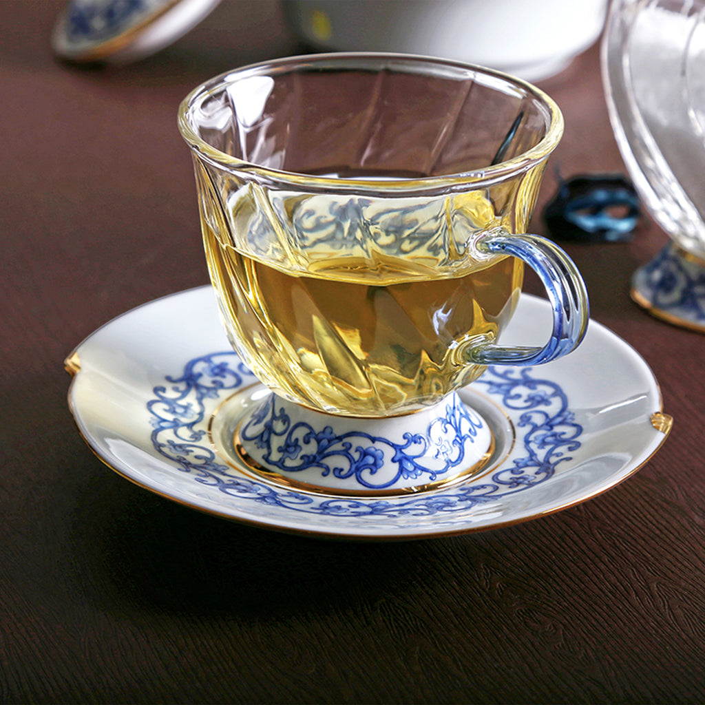 luxury glass cup and saucer-Fusion Asia 01