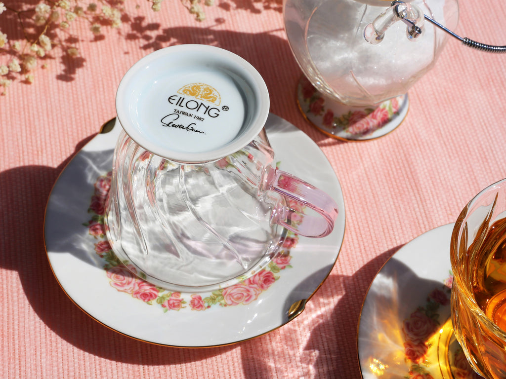 glass flower cup and saucer-Fusion Rose 11