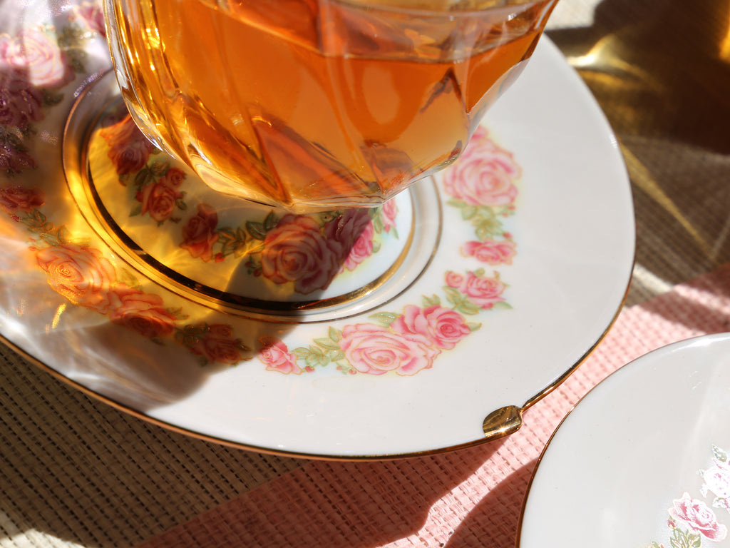 glass flower cup and saucer-Fusion Rose 10