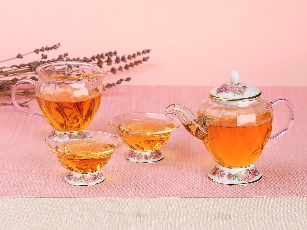 beautiful glass teapot gift set-Fusion Rose Tea Ware Gift Set 4PCS 04