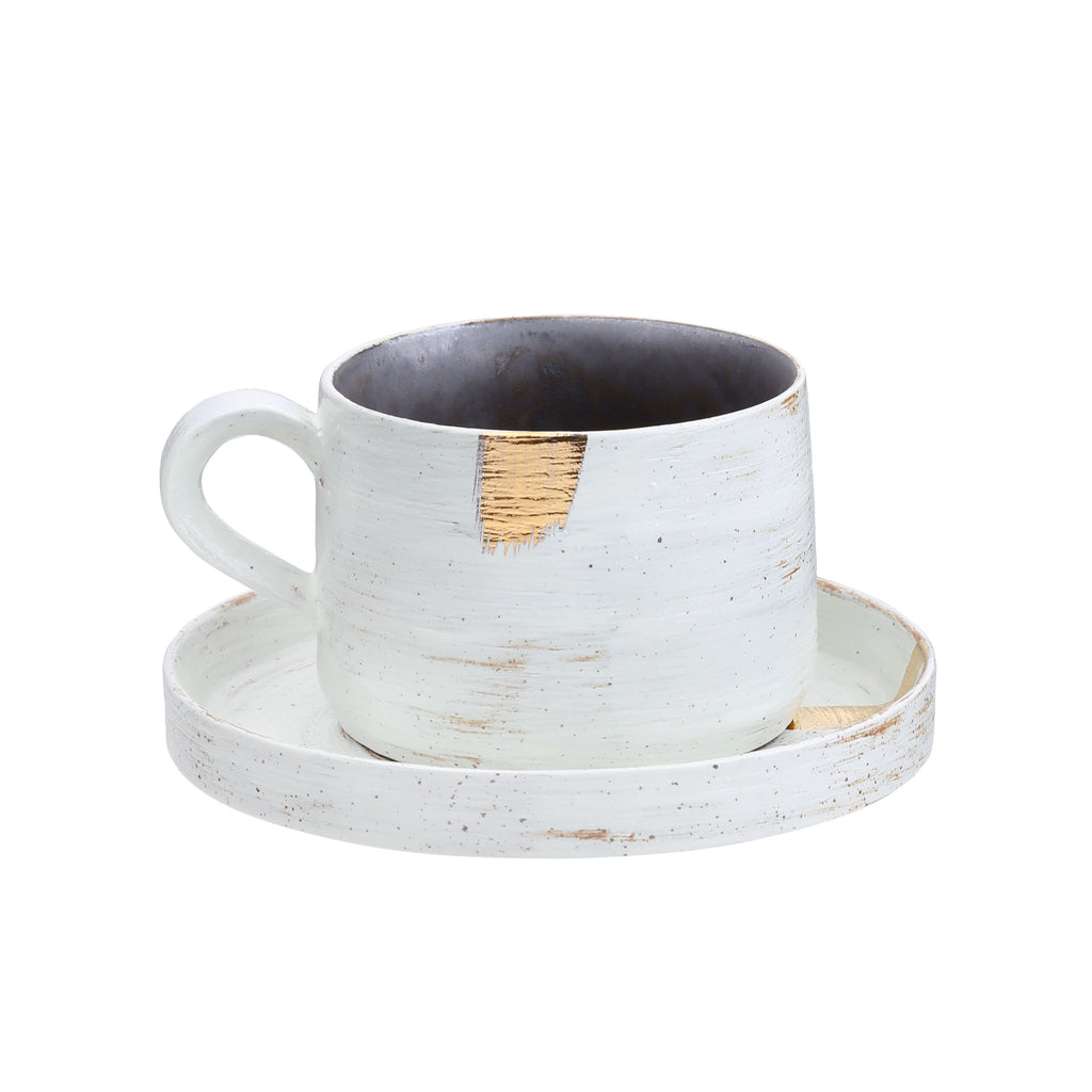 porcelain coffee cup and saucer-Golden Sunrise 05