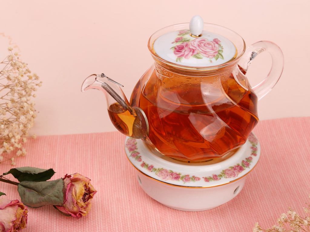 beautiful glass teapot-Fusion Rose 03