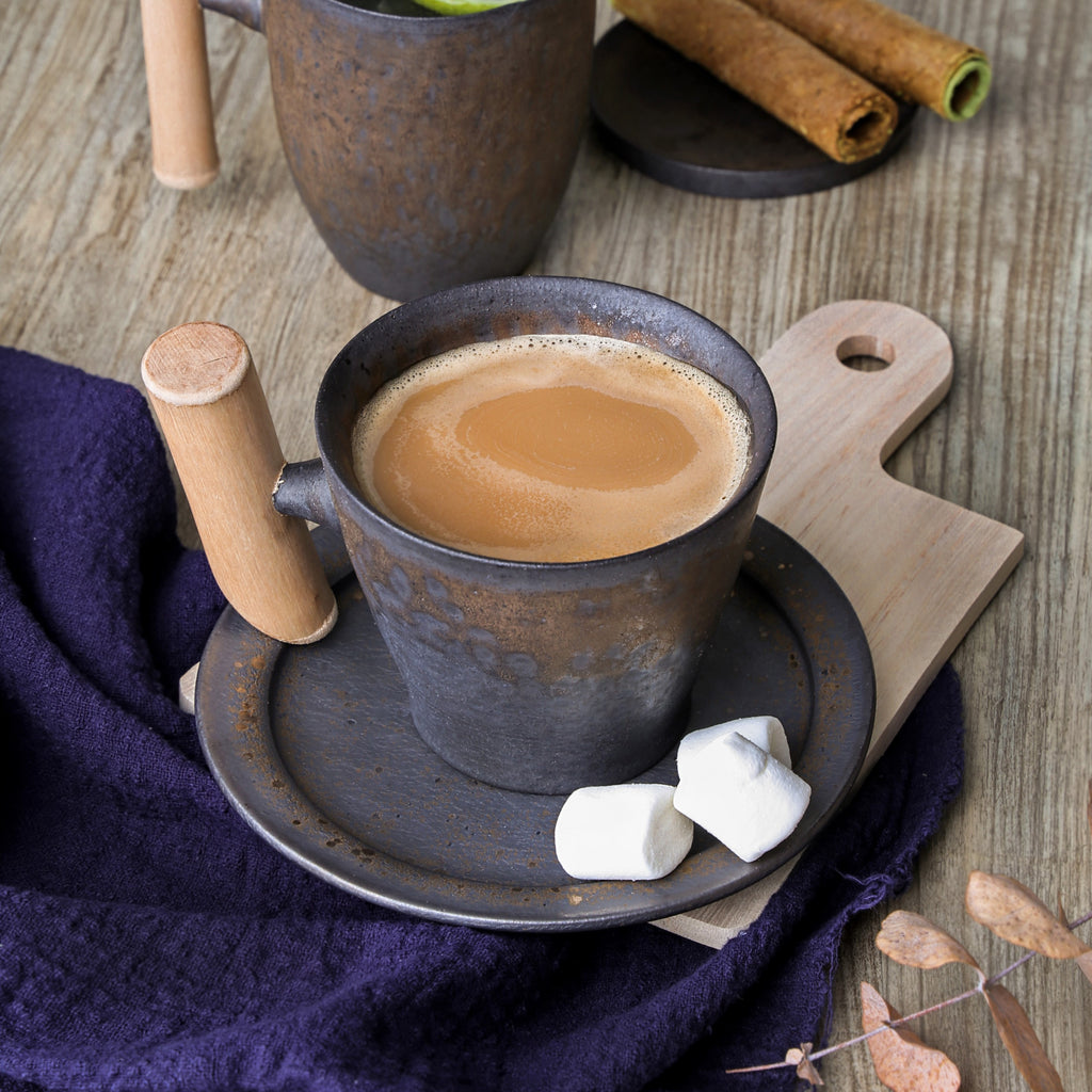 small wooden handle mug-Iron Glaze 01