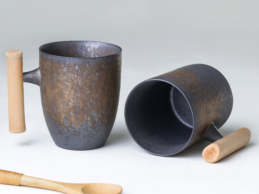 Iron Glaze Ceramic Mug with Wooden Handle
