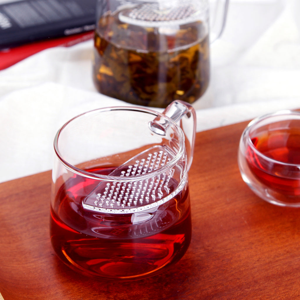 clear glass tea mug-lune filter mug 01