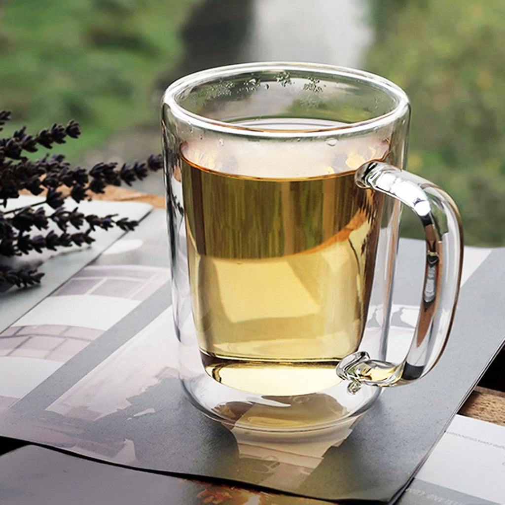 Clear Double Wall Heat Resistant glass Glass Mug 350ml 00