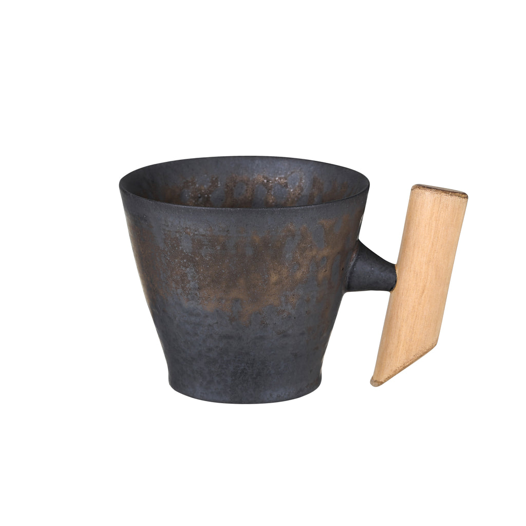 small wooden handle mug-Iron Glaze 00