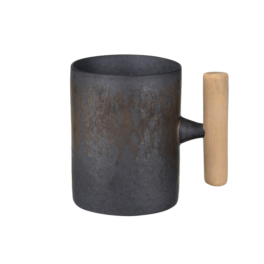 wooden handle ceramic straight mug-Iron Glaze 00