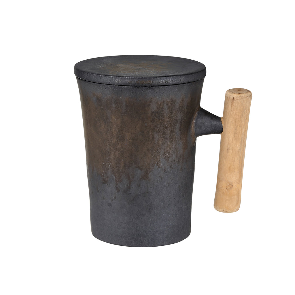 retro wooden handle mug-Iron Glaze 00