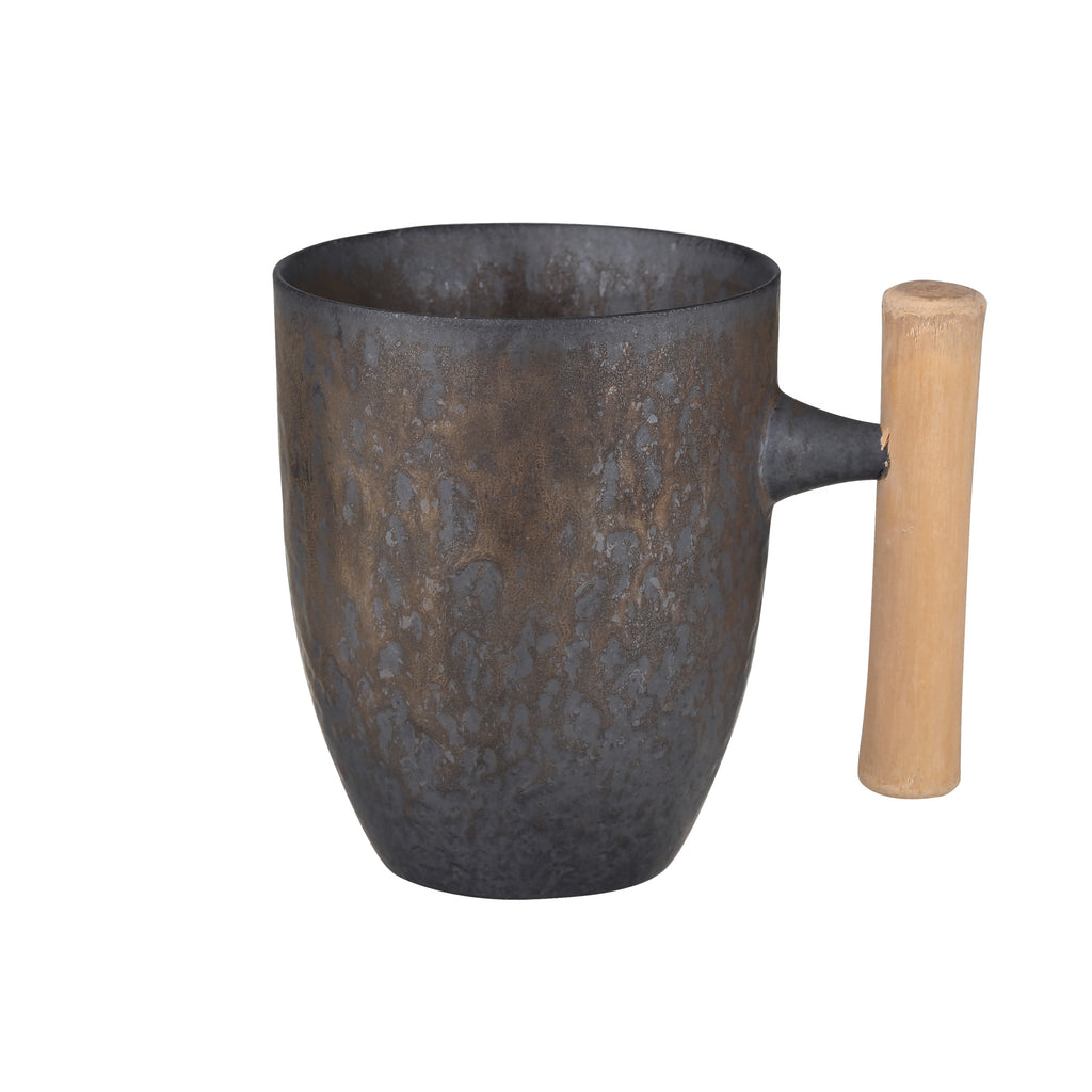 wooden handle ceramic mug-Iron Glaze 00
