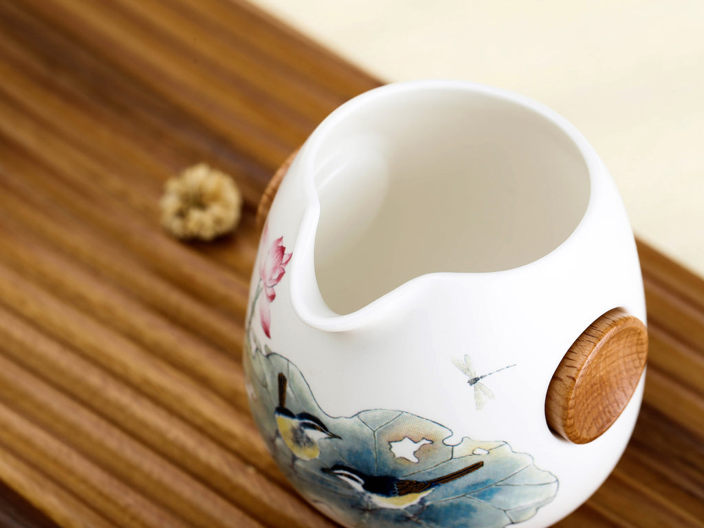 porcelain chinese tea pitcher-summer lotus pond 01