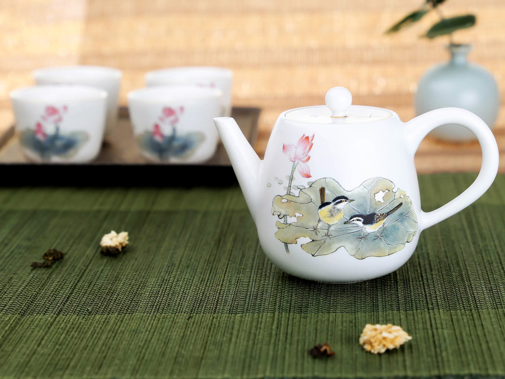 porcelain teapot gift set-Summer Lotus Pond Tea Ware Gift Set 3PCS 03
