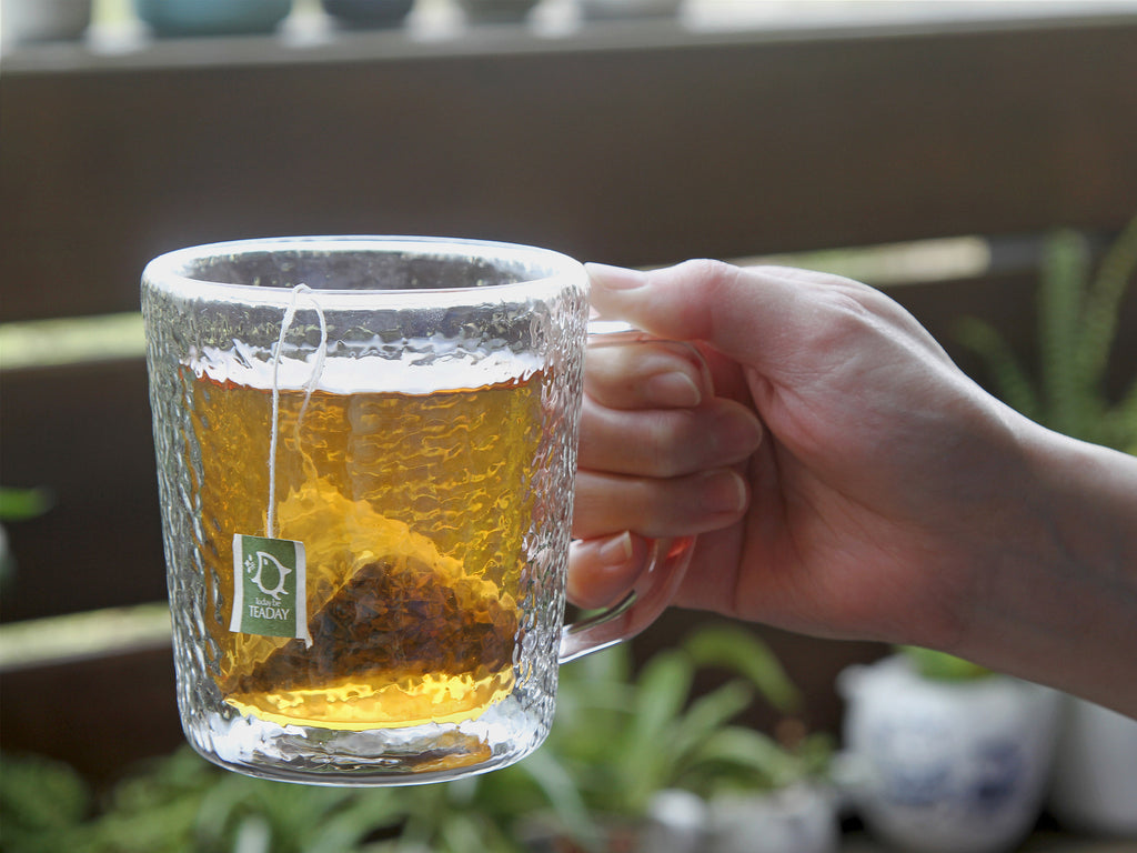 handmade double wall glass coffee mug-Hammer Impression Double Wall Glass Mug 01