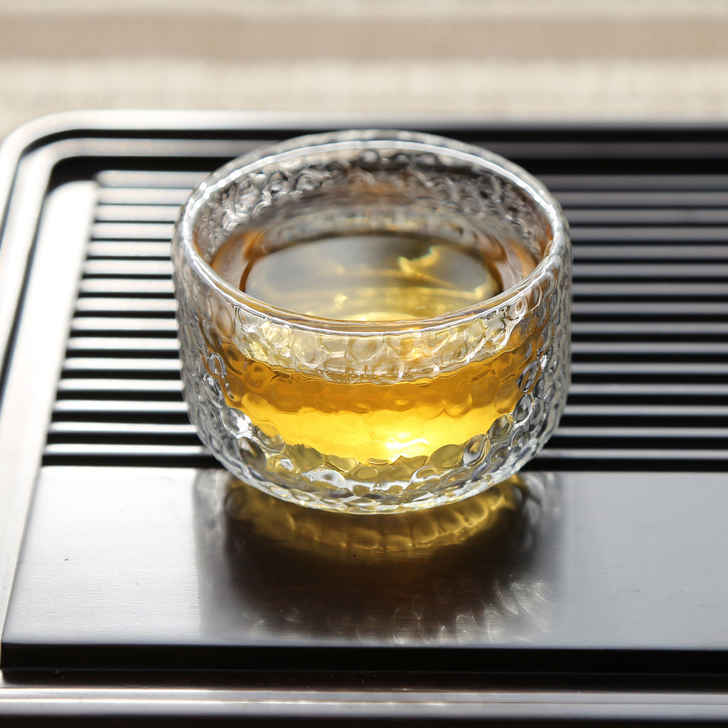 handmade double wall glass kung fu tea cup-Hammer Impression Double Wall Glass Cup 00