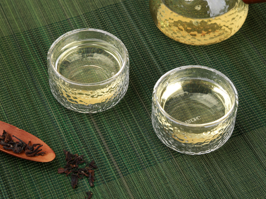 handmade double wall glass kung fu tea cup-Hammer Impression Double Wall Glass Cup 04