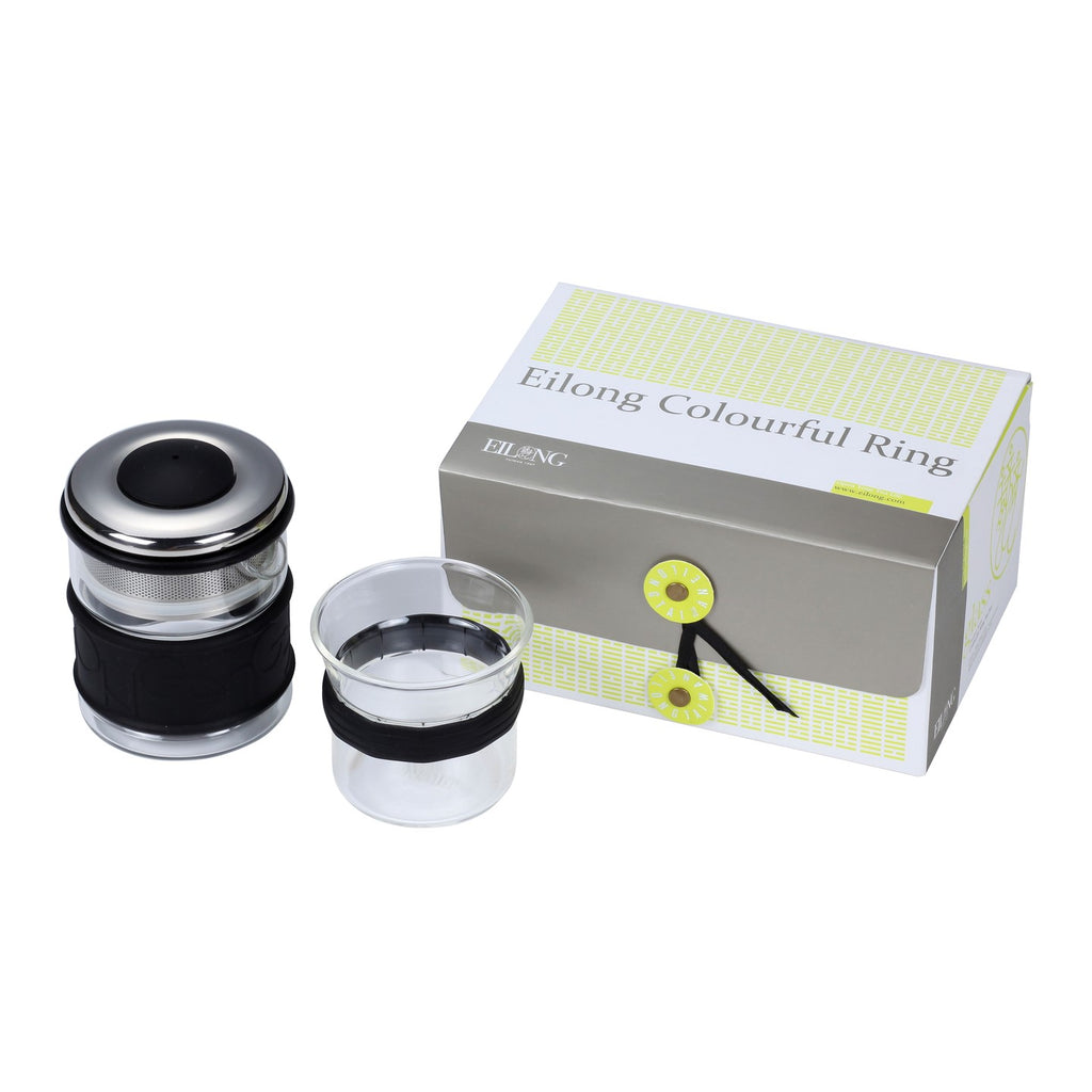 heat resistant glass teaware set-Colourful Ring Teaware Gift Set 2PCS black