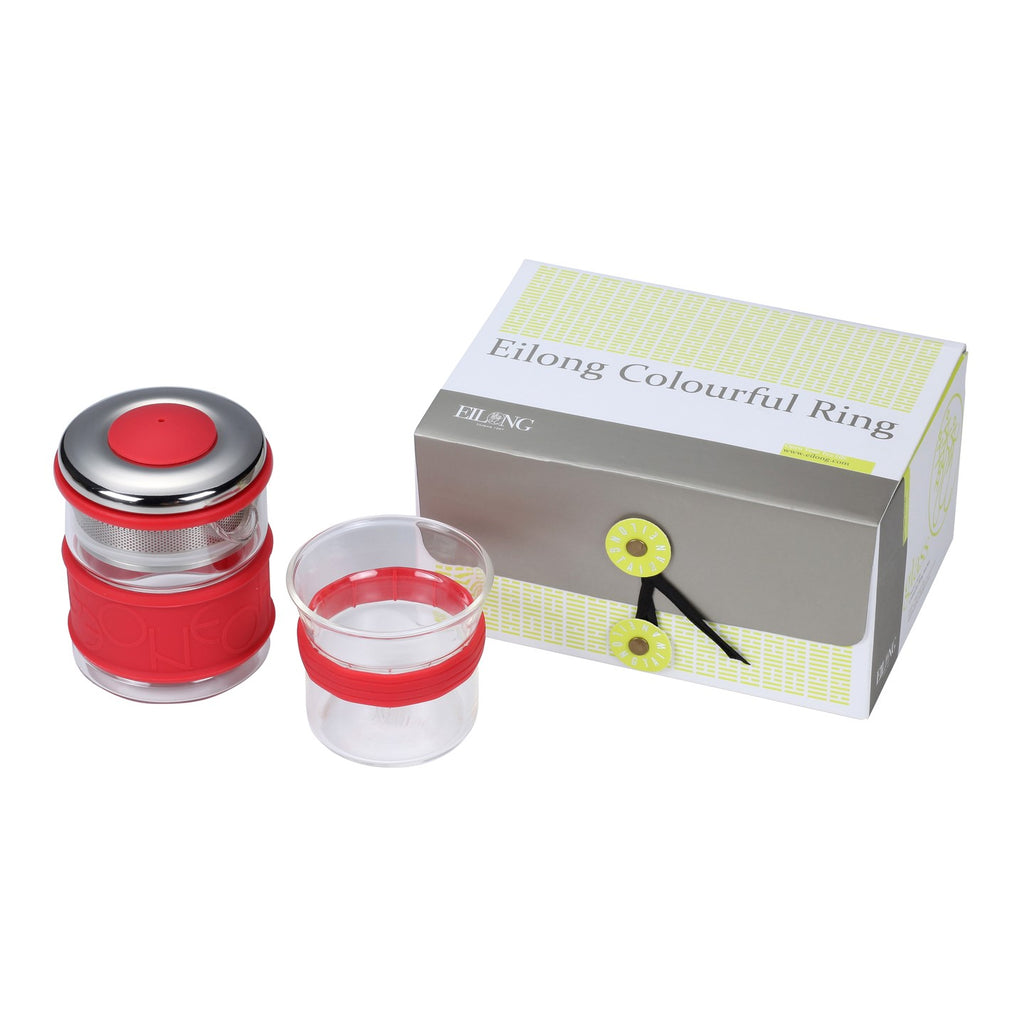 heat resistant glass teaware set-Colourful Ring Teaware Gift Set 2PCS red