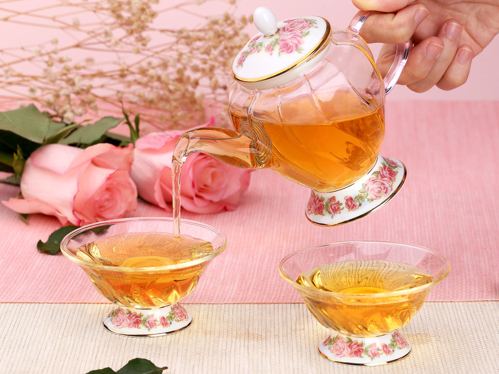 beautiful glass teapot gift set-Fusion Rose Tea Ware Gift Set 4PCS 06