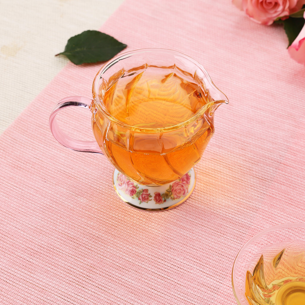 beautiful glass chinese tea pitcher-Fusion Rose 01