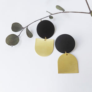 Geometric Black + Brass earrings
