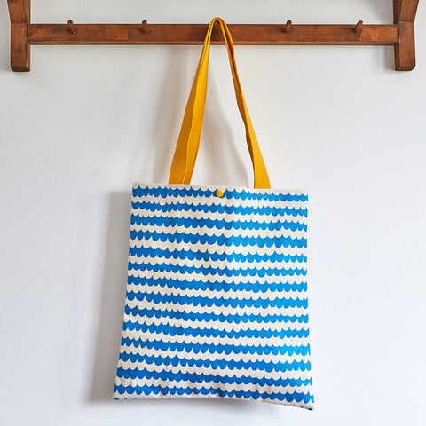 Blue wave hand screen printed tote bag - Inspired