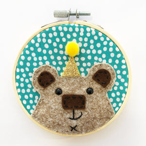 Small bear embroidery hoop