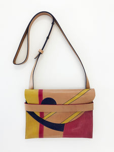 Hand painted pink, blue & yellow leather handbag - Inspired