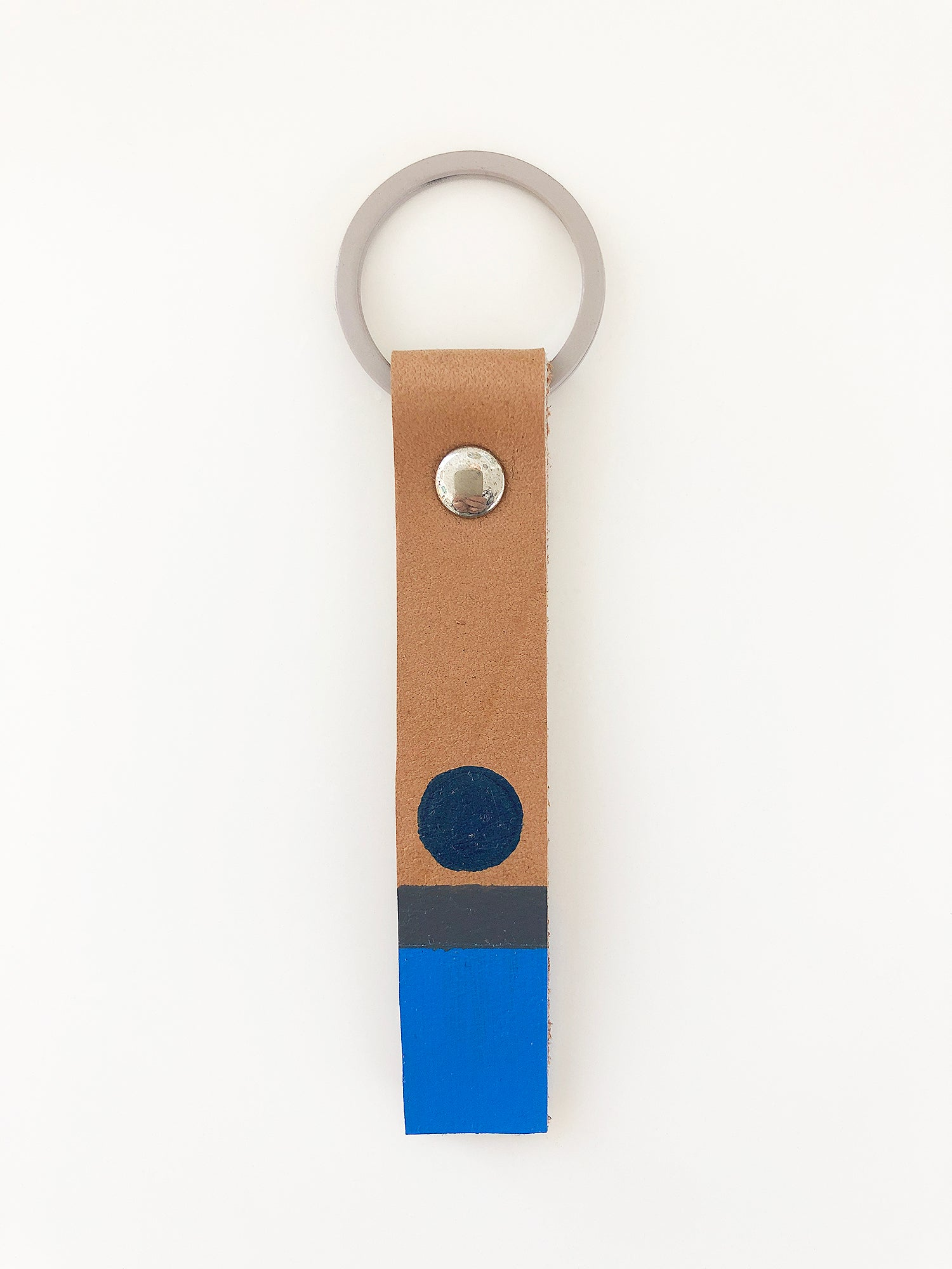 Hand painted blue circle leather keyring