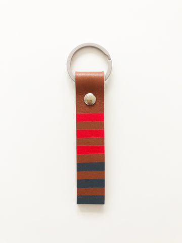 Hand painted pink & grey stripe leather keyring