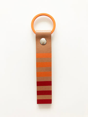 Hand painted red & orange leather keyring
