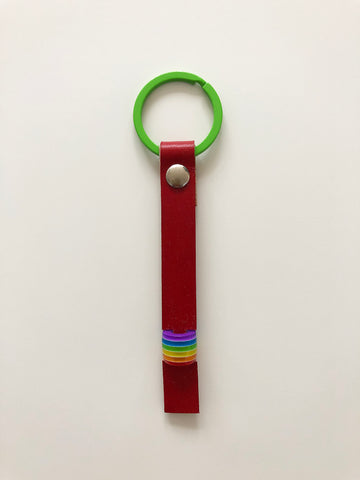 Red painted & rainbow bead leather keyring