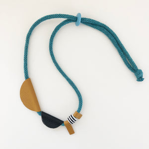 Black & mustard leather shapes necklace