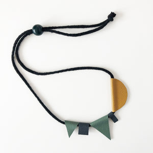 Yellow, sage & charcoal leather necklace
