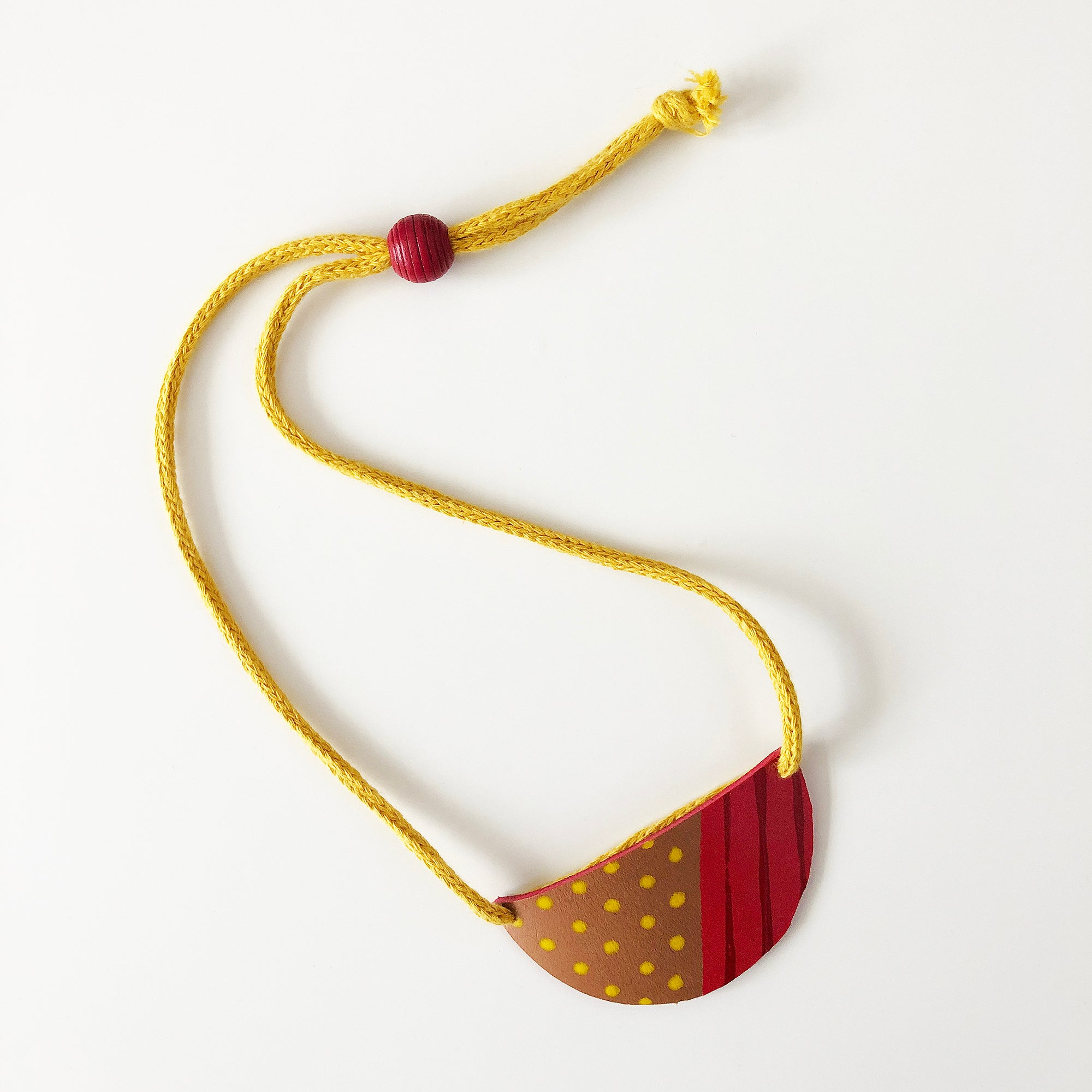 Semi circle painted leather necklace