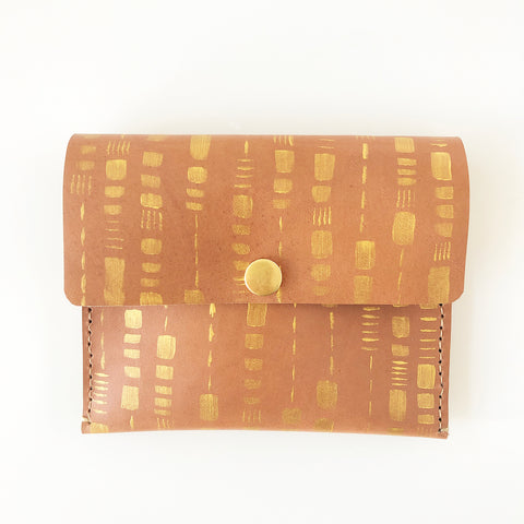 Tan Leather gold painted purse