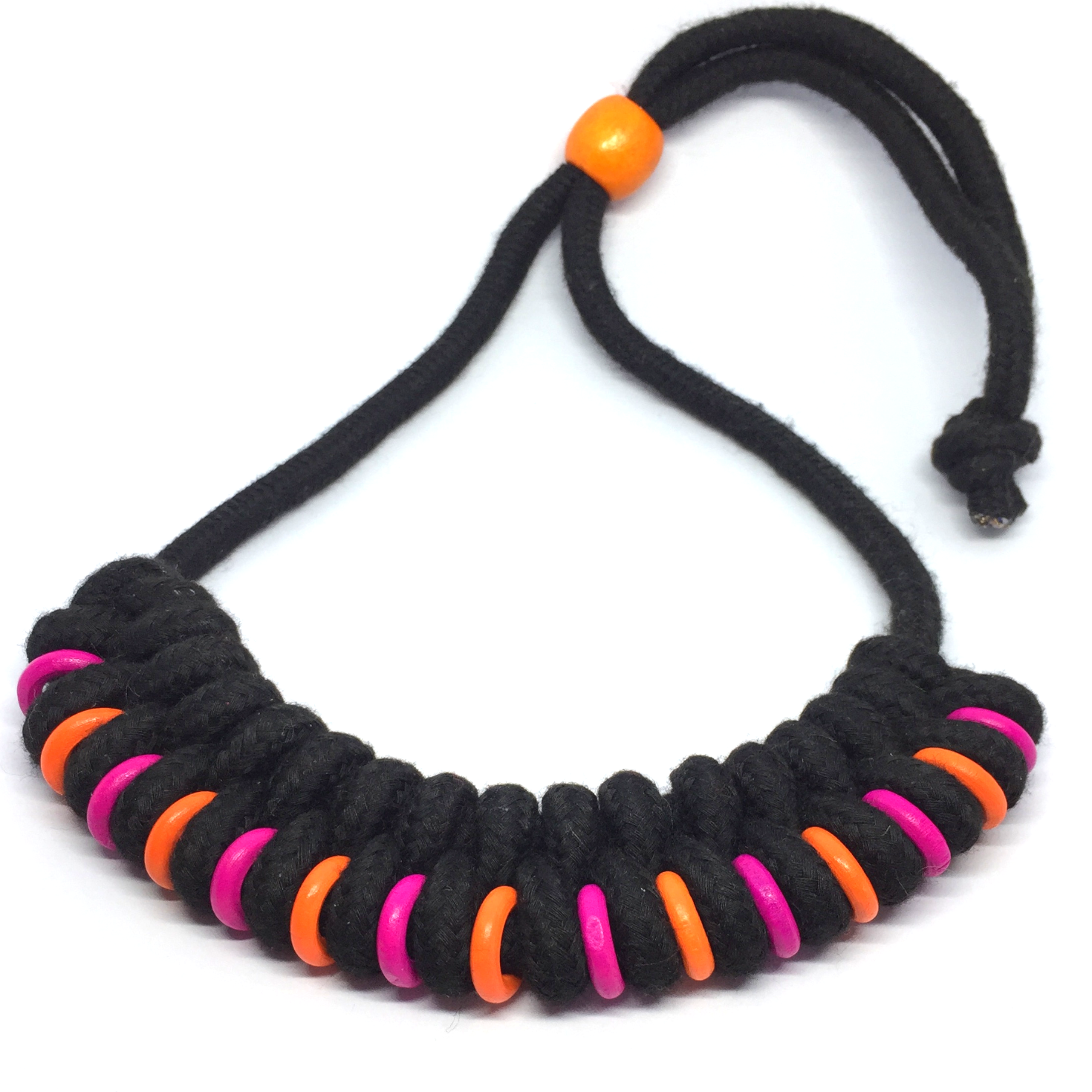 Black braided necklace with pink & orange beads