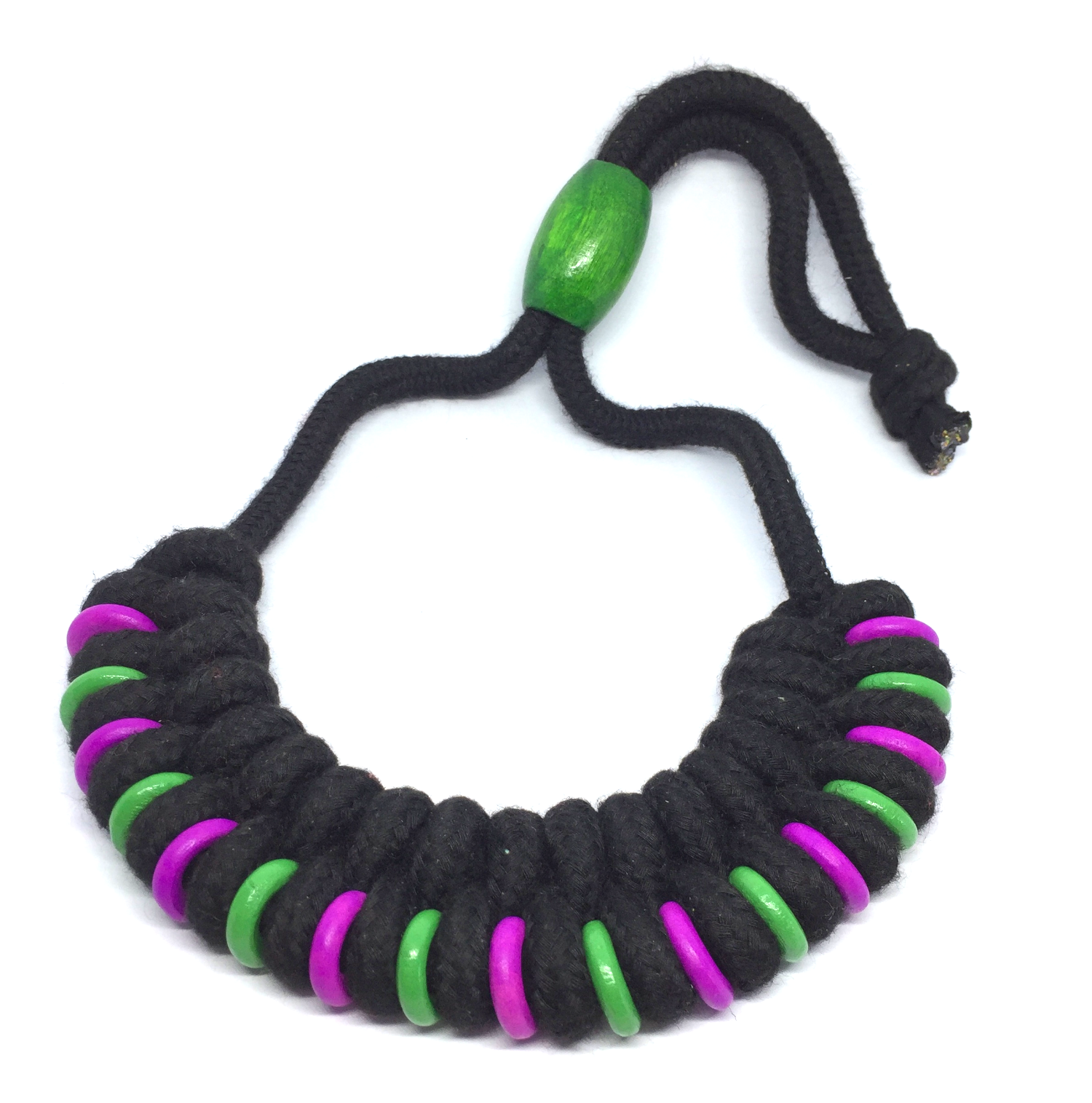 Black braided necklace with purple & green beads