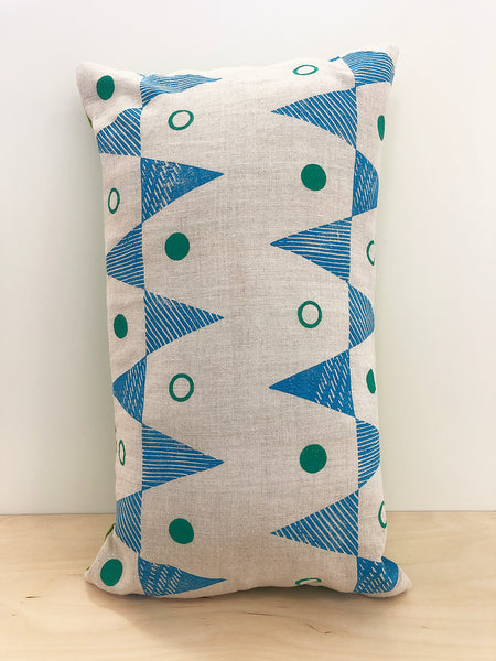 Blue & green triangle block printed Linen cushion cover - Inspired