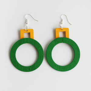 Green and yellow plywood dangle earrings - Inspired
