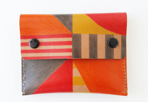 Small hand painted red, orange & yellow leather purse - Inspired