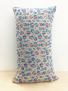 Blue & pink leopard print cushion cover - Inspired