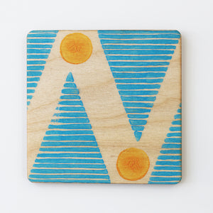Hand printed bright blue and orange plywood coaster - Inspired