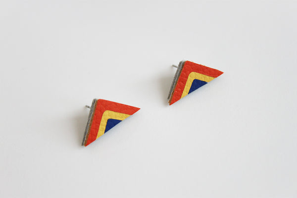 Orange, yellow and blue leather rainbow stud earring - Inspired