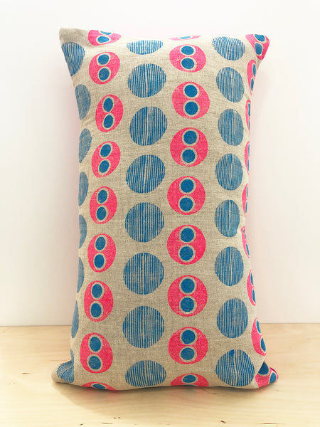 Pink and blue circle block printed cushion cover - Inspired