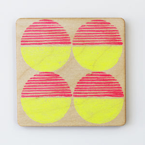 Hand printed pink & yellow circle plywood coaster - Inspired