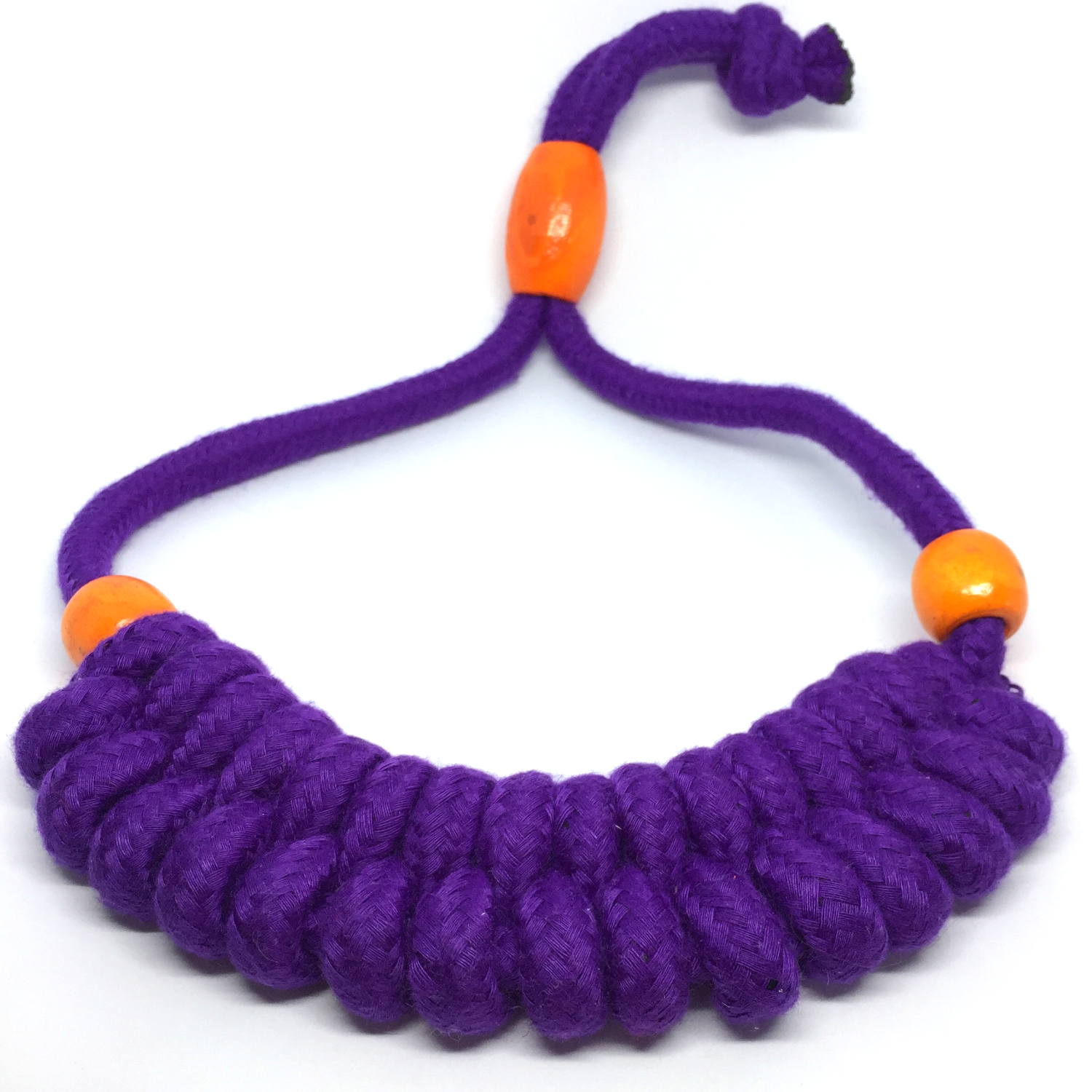 Purple braided necklace with orange beads