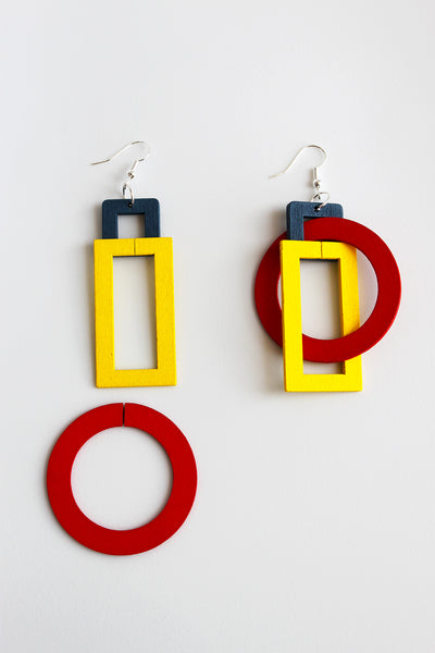 Red, yellow and blue versatile plywood dangle earring - Inspired