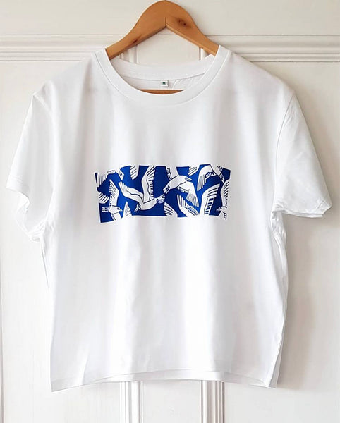 Blue seagull cropped t-shirt