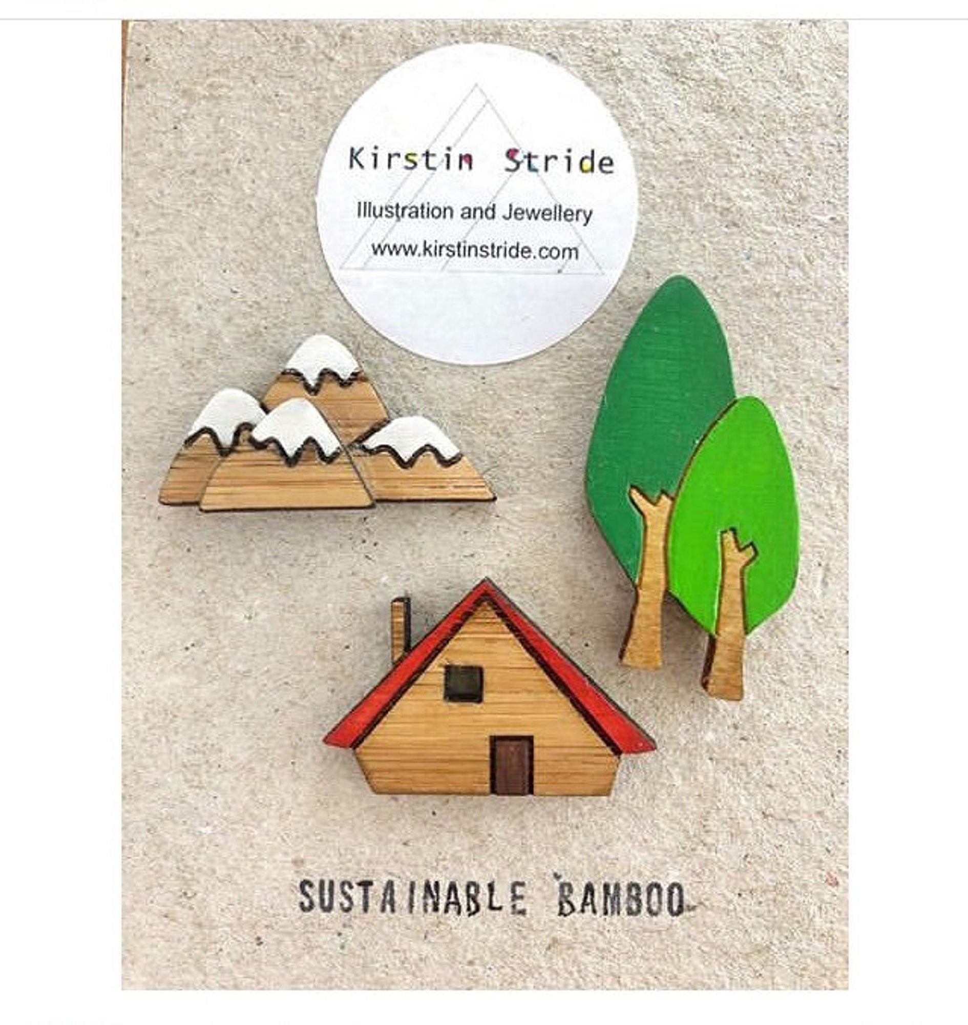 Cabin, mountains and tree pin brooch set - Inspired